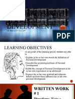 Lesson 1 Introduction to Personal Development