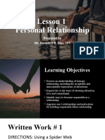 Lesson 1 Personal Relationships