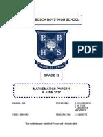 RBHS Grade 12 Maths Paper 1 2017