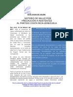 Ministerio de Salud pide precaución a los asistentes al partido Costa Rica-Venezuela ante casos de cólera