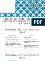 Forms of Corporate and Non Corporate Entities