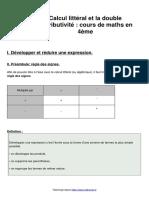 Leçon 7 calcul-litteral-et-la-double-distributivite-cours-de-maths-en-4eme