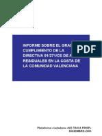 INFORME SOBRE EL GRADO DE CUMPLIMIENTO DE LA DIRECTIVA 91 271 CE DE AGUAS RESIDUALES EN LA COSTA DE LA COMUNIDAD VALENCIANA