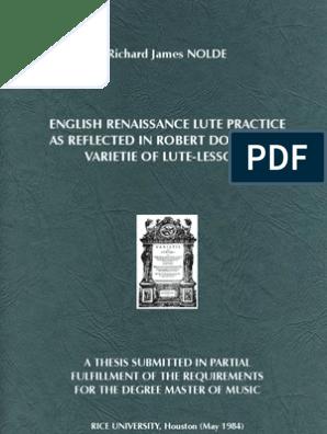 NOLDE, Richard James • English Renaissance lute practice as