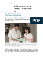 How to make an oral case presentation to healthcare colleagues
