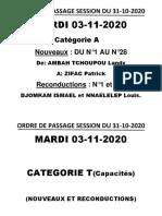 Yaoundé_Ordre de passage pour les épreuves pratiques du permis de conduire session du 31 octobre 2020