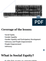 Social Equity, Gender Equality and Community Engagement