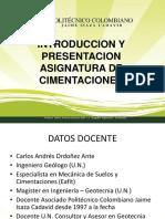 1.0 Presentación del curso de Cimentaciones
