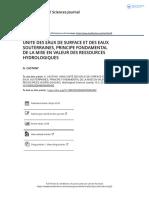 UNIT DES EAUX DE SURFACE ET DES EAUX SOUTERRAINES PRINCIPE FONDAMENTAL DE LA MISE EN VALEUR DES RESSOURCES HYDROLOGIQUES