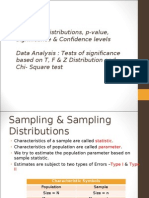 Sampling distributions, p-value, significance & confidence