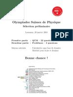 SwissPhO, Tour preliminaire 2016