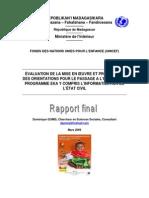 Evaluation de la mise en oeuvre et proposition des orientations pour le passage à l'échelle du programme EKA y compris l'informatisation de l'Etat Civil - 2009