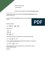 Ecuación de la parábola en la forma general