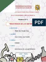 RESISTENCIA DE LOS MATERIALES  Trabajo 2