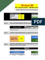 Recomp Calories calculator base INIZIO 16 nov 2020