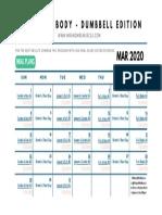 Lean Body Dumbbell Workout Calendar - MAR 2020