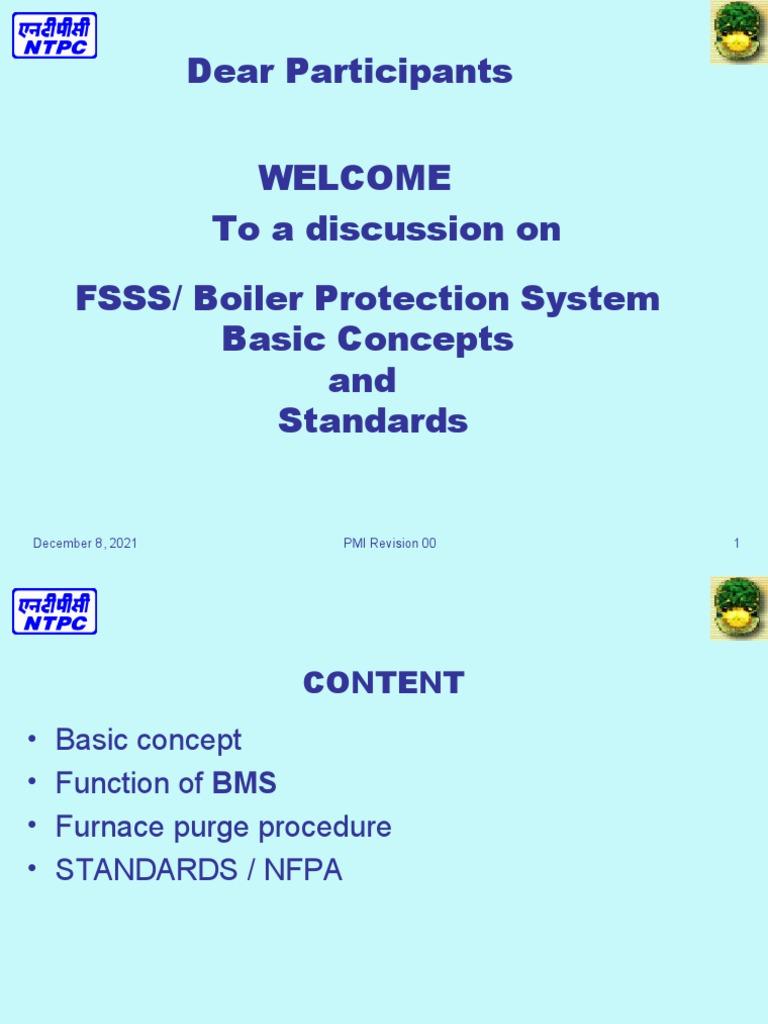 01 FSSS Basic Concept and std | Boiler | Furnace