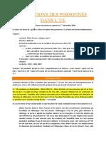 Conditions des personnes dans l_UE - PREMIER COURS (Afflisio 2014)