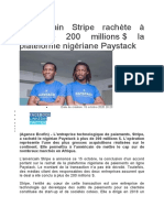 L'américain Stripe rachète à plus de 200 millions $ la plateforme nigériane Paystack