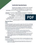 Controle bacteriano - agentes quimicos e fisicos