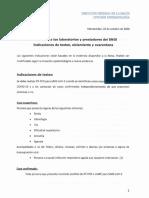 Comunicado a los laboratorios y prestadores del SNIS Indicaciones de testeo, aislamiento y cuarentena