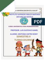 CARATULA DEL CURSO MATEMATICA