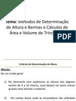 Critérios Determinação de Altura e Bermas e Cáculos de Parametros de Trincheiras (1)