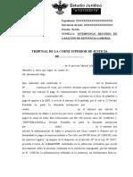 RECURSO DE CASACIÓN DE SENTENCIA LABORAL