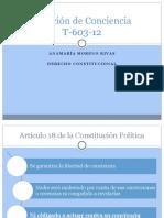 Sentencia T-603-12 sobre Objeción de Conciencia