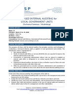 Risk Based Internal Auditing for LGUs - March 2020 - Course Info A