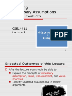CGE14411 - Lecture 7 (Questioning the Necessary Assumptions and Value Conflicts)
