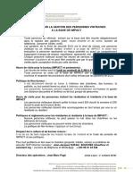 POLITIQUE SUR LA GESTION DES PERSONNES VISITEUSES À LA BASE DE IMPACT_Kolwezi_Version 3 octobre 2019