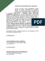 formato de Acuerdo de liquidación de derechos laborales