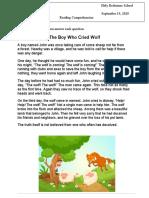 The Boy Cried Wolf Worksheet