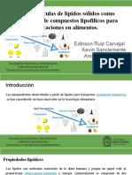 Nanopartículas de lípidos sólidos como portadores de compuestos lipofílicos para aplicaciones en alimento