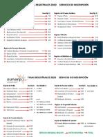 SUNARP - Tasas Registrales 2020