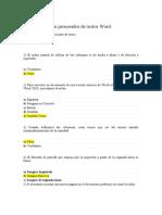 Test de Resumen procesador de textos Word