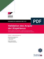 Dossier de candidature pour une VAE à L'École de design Nantes Atlantique 2021