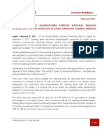 Sterling Bank PLC Extra-Ordinary General Meeting Press Release - February 2, 2011