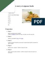 Poulet curry et oignons facile