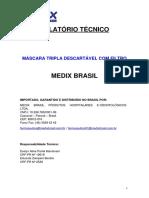 Relatório Técnico - Máscara tripla descartável com filtro (Azul e Branca)