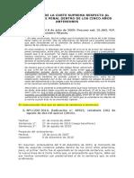 POSTURAS DE LA CORTE SUPREMA RESPECTO AL ANTECEDENTE PENAL DENTRO DE LOS CINCO AÑOS ANTERIORES
