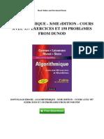 ALGORITHMIQUE - 3èME édition - COURS AVEC 957 EXERCICES ET 158 PROBLèMES FROM DUNOD
