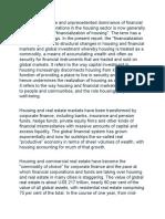 Financialization of housing