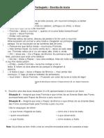Ficha de Português - escrita de texto