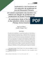 Piñeiro y Vásquez 2019 Un estudio exploratorio a las tensiones en los criterios de selección de problemas en profesores de Educación Primaria