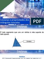 Cevianas e propriedades do triângulo isósceles