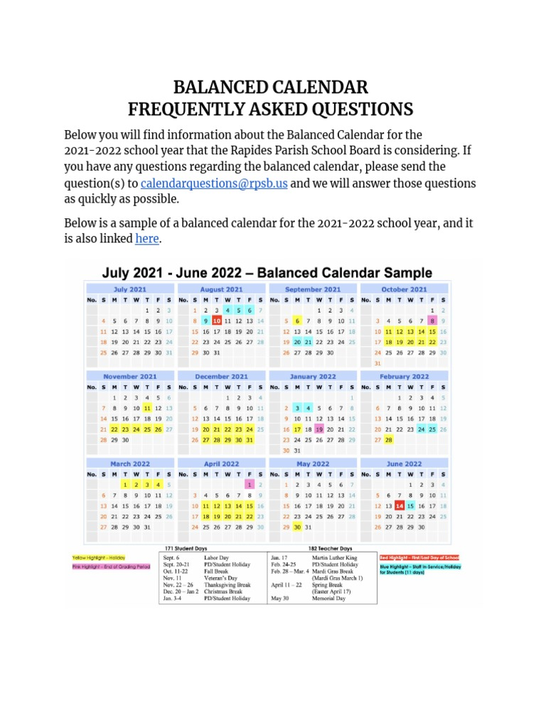 Photos of Rapides Parish School Board Calendar 2021-2022