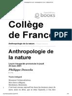 Anthropologie de la nature - Anthropologie de la nature - Collège de France