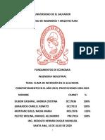 CLIMA DE INVERSIÓN EN EL SALVADOR, COMPORTAMIENTO 2019 Y PROYECCIONES 2020-2021
